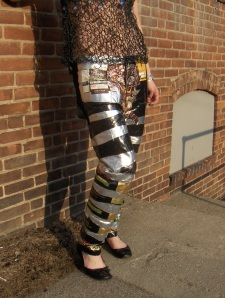 Pants made from recycled coffee bean bags, a Seattle favorite. Photo credit: Louisa Gaylord