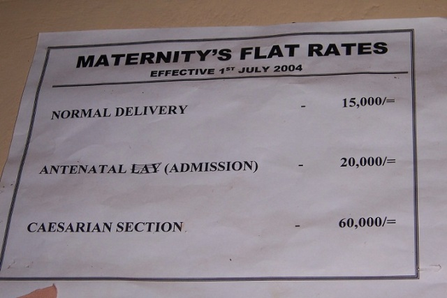 Uganda, under protection of the British Empire until the 1960's, uses shillings as currency. These hospital rates show that a normal delivery is approximately $6 USD, and a C-section birth is $24 USD.