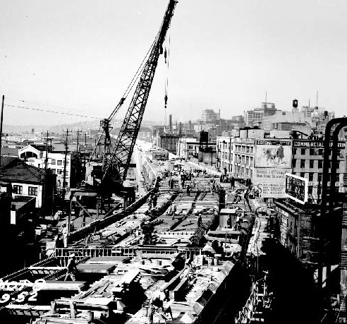 The Viaduct was the first tunnel designed by the City of Seattle Engineering Department, as well as the first example of a tunnel using forced-air ventilation.