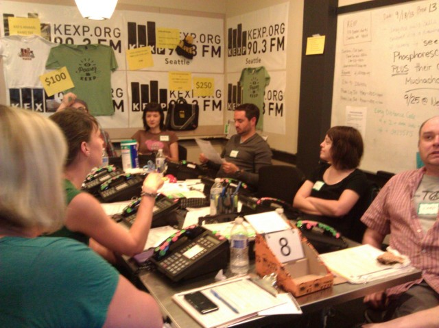 Phone volunteers during the Fall 2013 fund drive. After more than 40 years, KEXP is still dependent on listener support.
