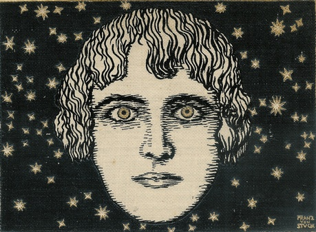 Illustrated cover of a 1908 Weltgeschichte (world history) book - the figure's eyes, as well as the stars, feature gold embossing.