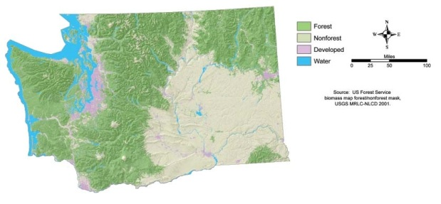 A US Forest Service map shows just how extensively forested the state of Washington is.