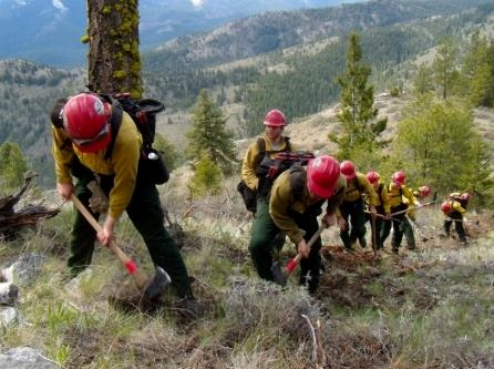 A group of Forest Service volunteers learning preventative forest fire measures. Photo credit: Ian Haynes