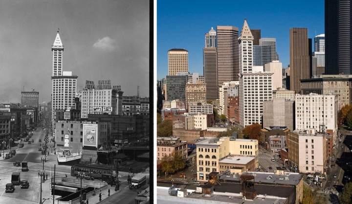 Smith Tower is a great example of enduring Seattle design, shown here in 1929 and again more than 80 years later.