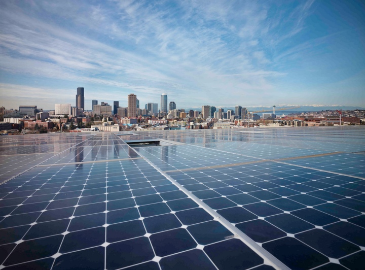 The Bullitt Center's PV array overlooking downtown Seattle